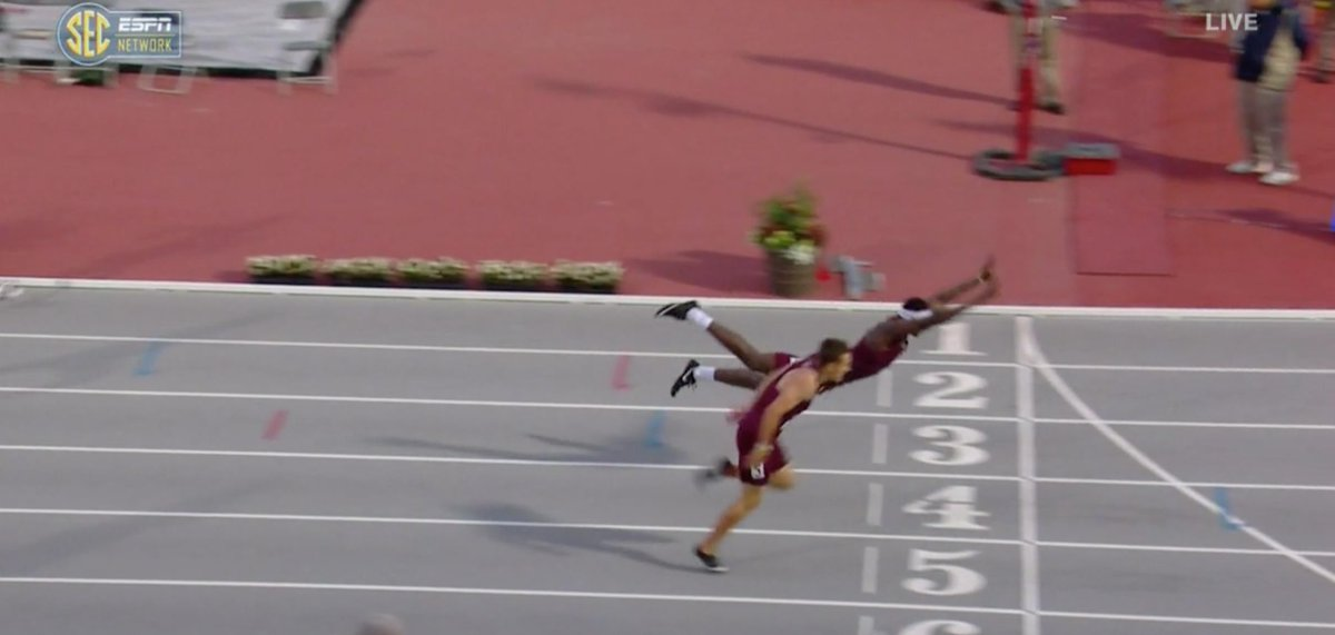 Texas A&M Hurdler Goes 'Full Superman' To Leap Face-First To Victory