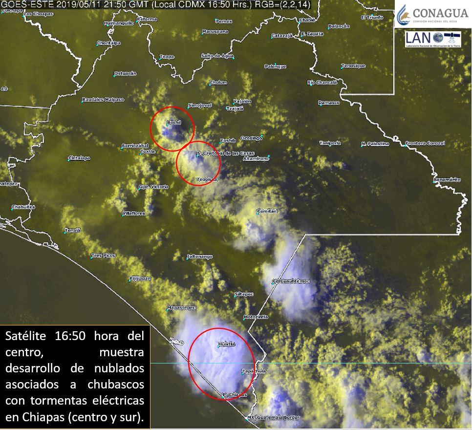 Nubosidad con #Chubascos y #Tormentas eléctricas se presentan en el centro y sur de #Chiapas