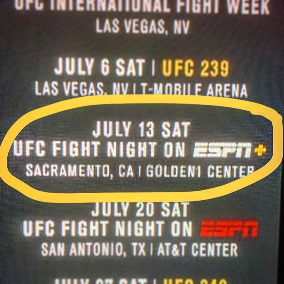 UFC coming to my hometown on my birthday! Ohh I hope I get a fight, I hope I get a fight! @ufc @danawhite @Mickmaynard2 🤗 #sactown #represent #birthdayfight #teamcalvillo #vamos https://t.co/Fhho9ua4pj