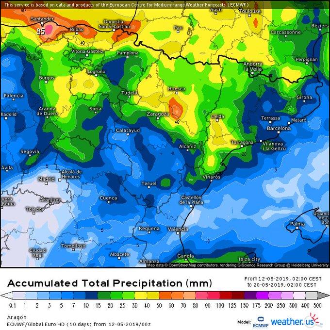 🌞 hasta el J en el Pirineo con temperaturas agradables, quedándose los primeros calores importantes de la temporada al Sur y Oeste de la península. El J podría haber alguna 🌩️ preludio de un finde inestable y frío, con 🌧️-❄️. Cota 2400m bajando a  2000m o menos. A confirmar.