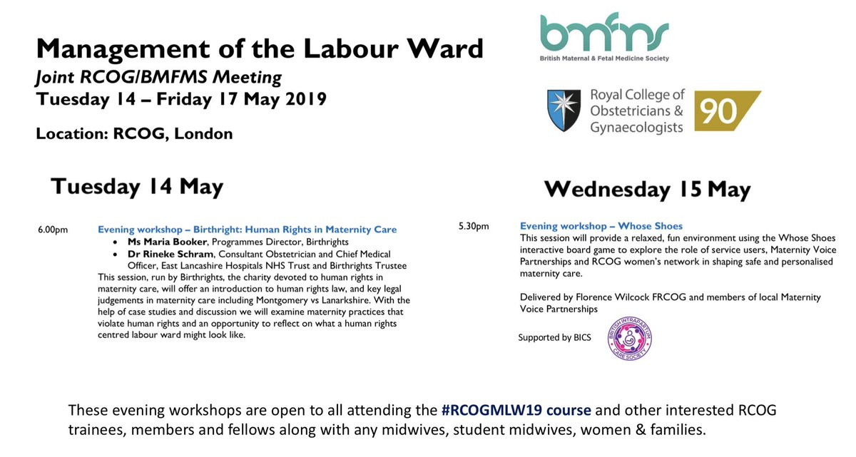 Two free evening workshops next week at the @RCObsGyn open to all @BICSoc members plus other interested people! Both promise to be interesting and informative encouraging us all to think openly about #personalisedcare #choice #coproduction #safety #birth #improvement