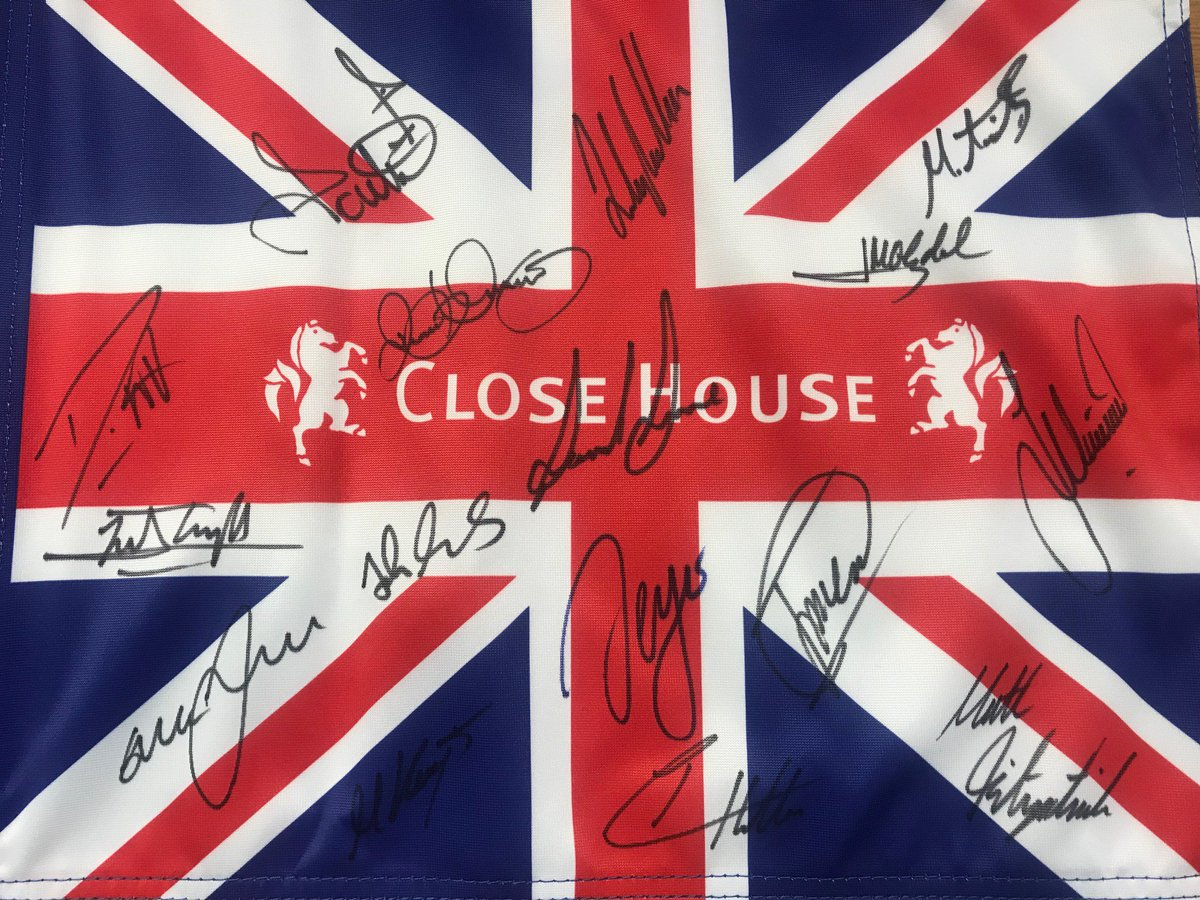 IT'S BACK.... #CloseHouse will host the 2020 #BritishMasters  To celebrate, we're giving away a signed flag with the likes of @WestwoodLee @dunners11 @McIlroyRory @IanJamesPoulter @TheSergioGarcia @Danny_Willett and more on it.  For your chance to win, RT & follow us.