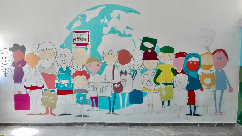 Nuestro proyecto #TusderechosMisderechosSusderechos esta llegando a su fin. Una de las últimas actividades es la realización de un mural sobre los ODS que ya hemos empezado a realizar gracias a la artista local Marimar Seoane @AulasOds @involucraodscyl @los_ods @FMusol @UNICEFCyL