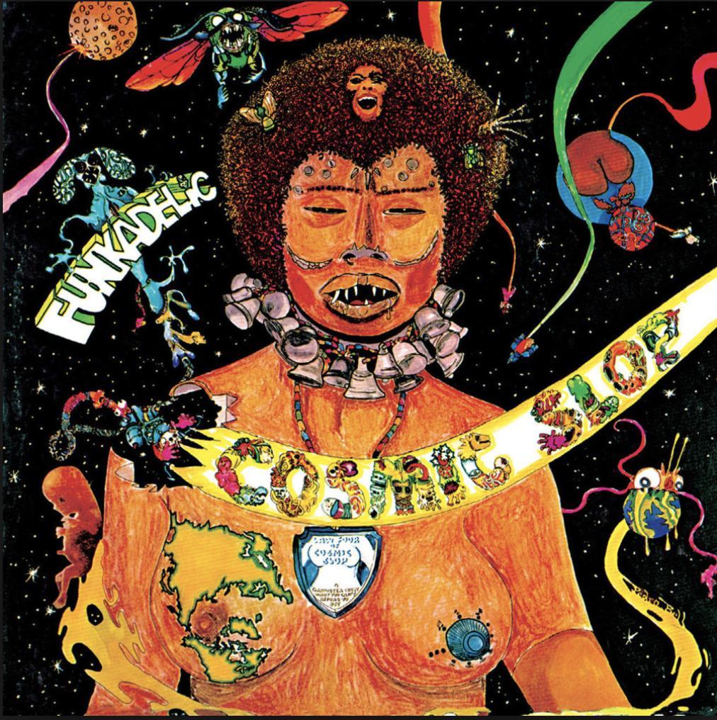 Pedro Bell, cover for Cosmic Slop by Funkadelic, 1973 @DesignMuseum #FontSunday #Cosmic