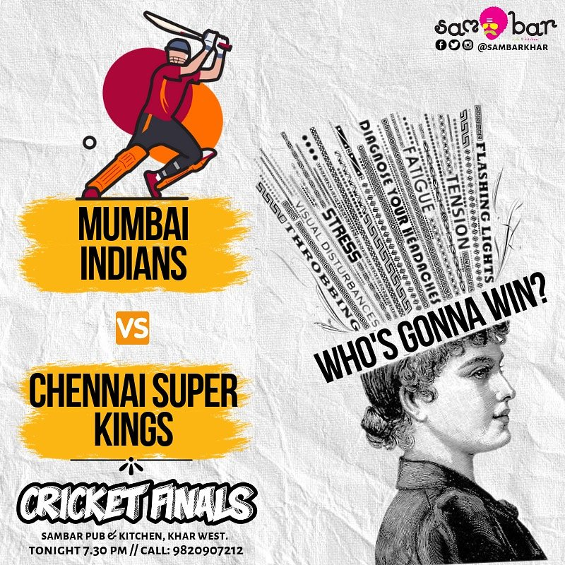 #Mumbai Join us tonight for the #LIVESCREENING of #IPLFinal2019 here at #SamBarKhar  Exciting offers on alcohol. Plus predict the winning team and get discounts.  For details, call - 9820907212  #MIvsCSK #MumbaiIndians #ChennaiSuperKings