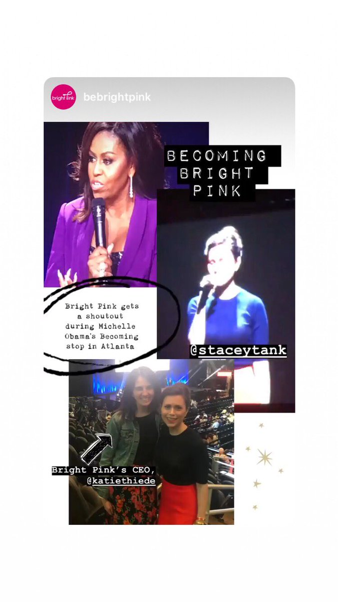 An unbelievable honor to welcome Michelle Obama to the stage in Atlanta last night and shed light on a non-profit that is so close to my heart @BeBrightPink @KatieThiede @LindsayAvner @CiaoSamin @GirlsIncATL
