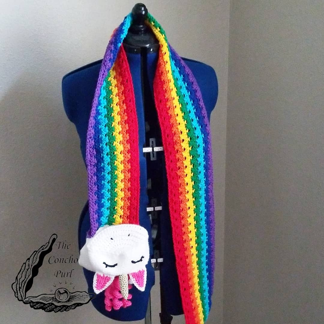 Unicorn Rainbow Barf Scarves are now available for pre-order!  🌈Shop link in bio🦄  #unicornbarfscarf  #unicornscarf  #unicornbarf  #unicornlove  #paintboxyarns  #paintbox  #rainbow🌈  #rainbowscarf  #rainbowbarf  #etsylisting  #etsyshopowner  #day132of365