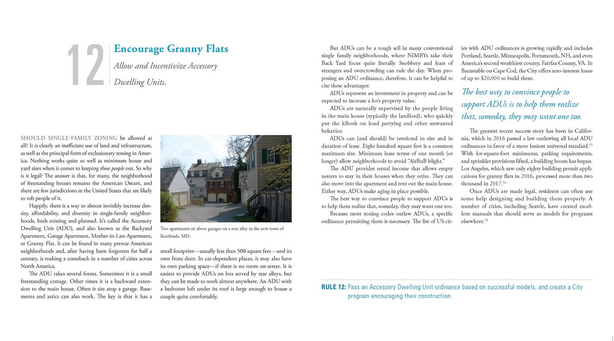 Here's RULE 12: ENCOURAGE GRANNY FLATS, in my new book, Walkable City Rules. I'm tweeting the whole book out May - July, one rule a day.  Enjoy!  Or go to: https://www.audible.com/pd/Walkable-City-Rules-Audiobook/B07M5M29DR…