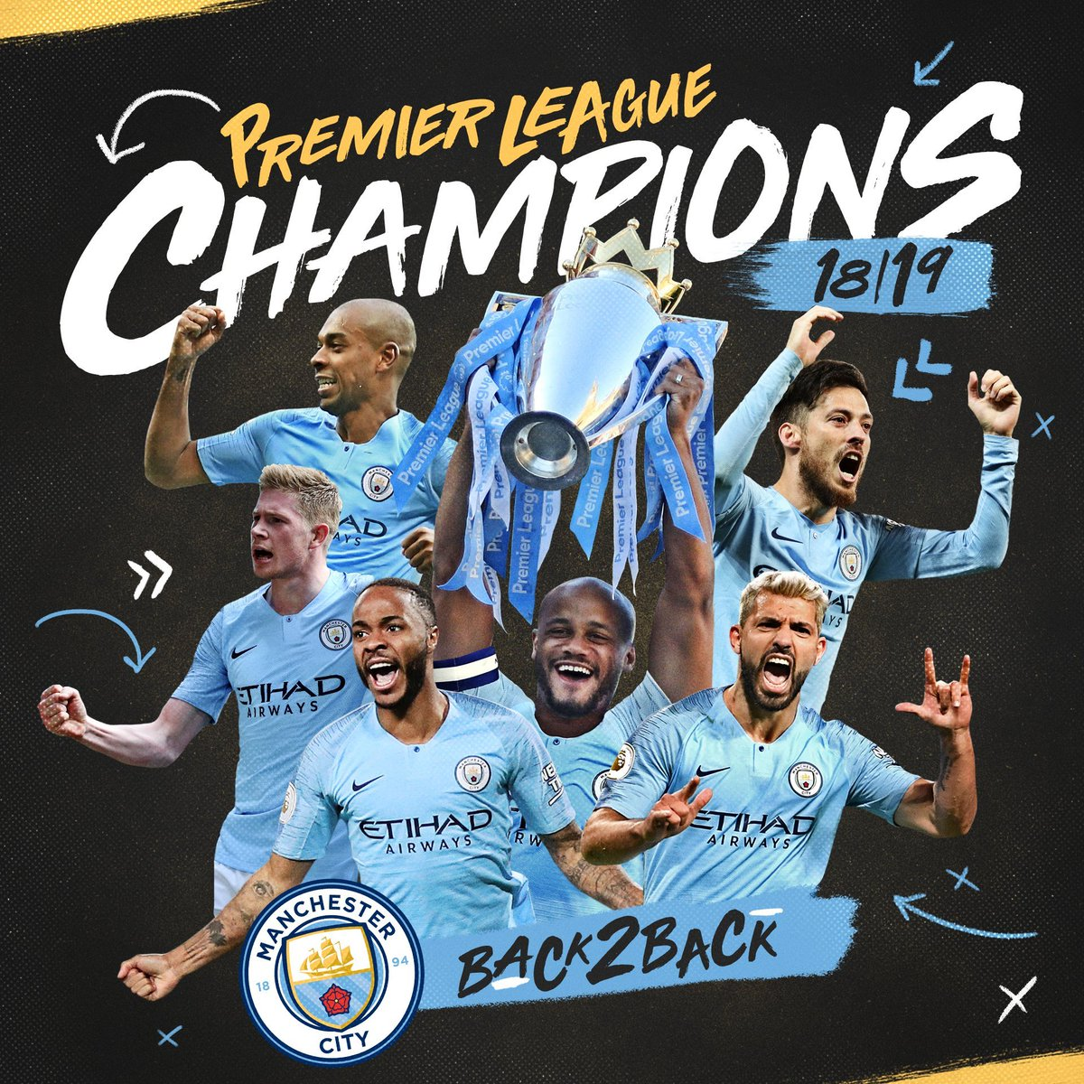 MANCHESTER CITY BACK TO BACK PREMIER LEAGUE CHAMPIONS 🎉  TWO TIMES IN A ROW 🏆 2017/2018 🏆 2018/2019