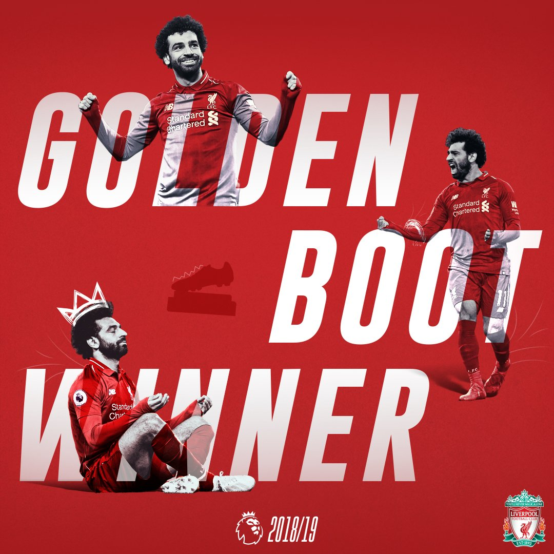 Is right, Reds. 🔴  @MoSalah and Sadio Mane win the 2018/19 @premierleague Golden Boot, after netting 22 goals each. 🔥