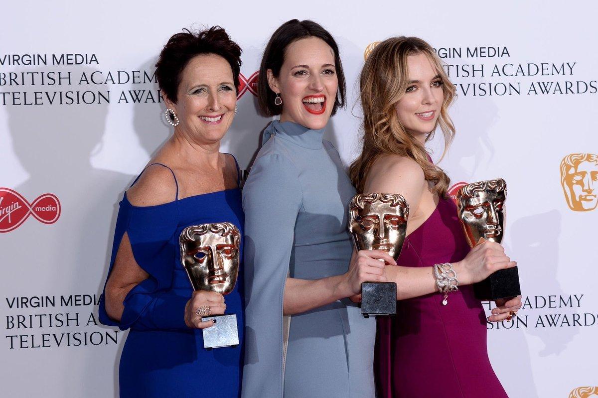 Fiona Shaw, Phoebe Waller-Bridge and Jodie Comer pose with their #BAFTATV awards tonight!   (c) @FFASiteTweets<br>http://pic.twitter.com/jM2MuXRGrF