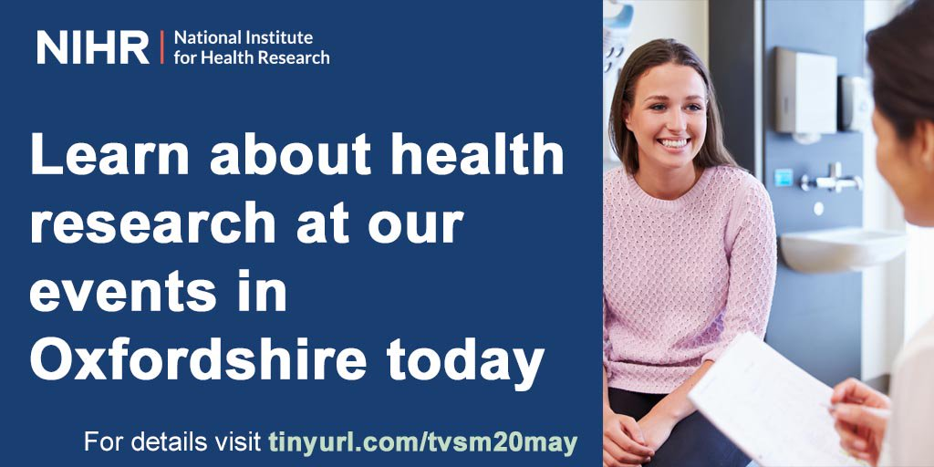Learn about Oxfordshire health research at @OUHospitals and GP practices in Banbury and Faringdon at our events today. Visit http://tinyurl.com/y4etgsc2 for details #BePartOfResearch #InternationalClinicalTrialsDay #ICTD2019