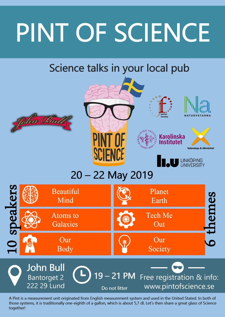 Pint of Science, science talks in your local pub 20-22 May. Researchers @lunduniversity give science talks at John Bull Pub in Lund. Free registration & info: http://pintofscience.se/