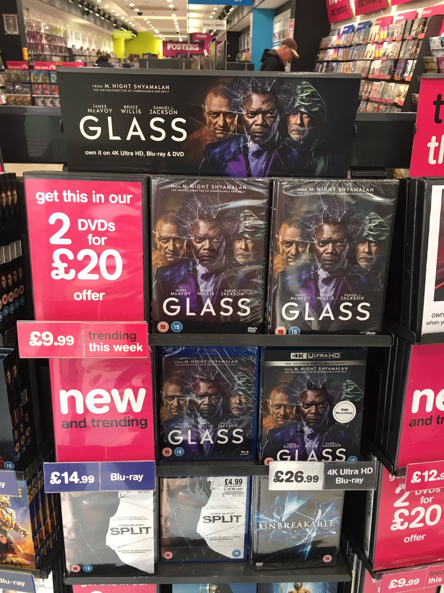 #GlassMovie is out now! Grab it on DVD, Blu-ray &amp; 4K! You can also get #Split &amp; #UnbreakableMovie in our perfect partner offer for only £2.99 on dvd and £4.99 on Blu-ray!<br>http://pic.twitter.com/RGG5HEo7Yy