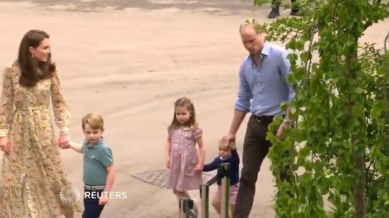 Prince William and Kate enjoy a day out with their children at a Chelsea Flower Show garden