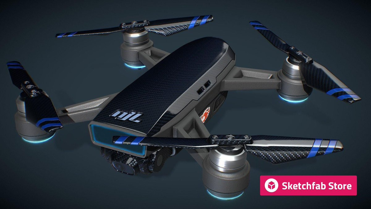 Store staff pick: Carbon Fiber Drone - Unmanned Aerial Vehicle by @gameanax. Buy it now for your #3D, #AR, or #VR projects: bit.ly/2VBVQPw
