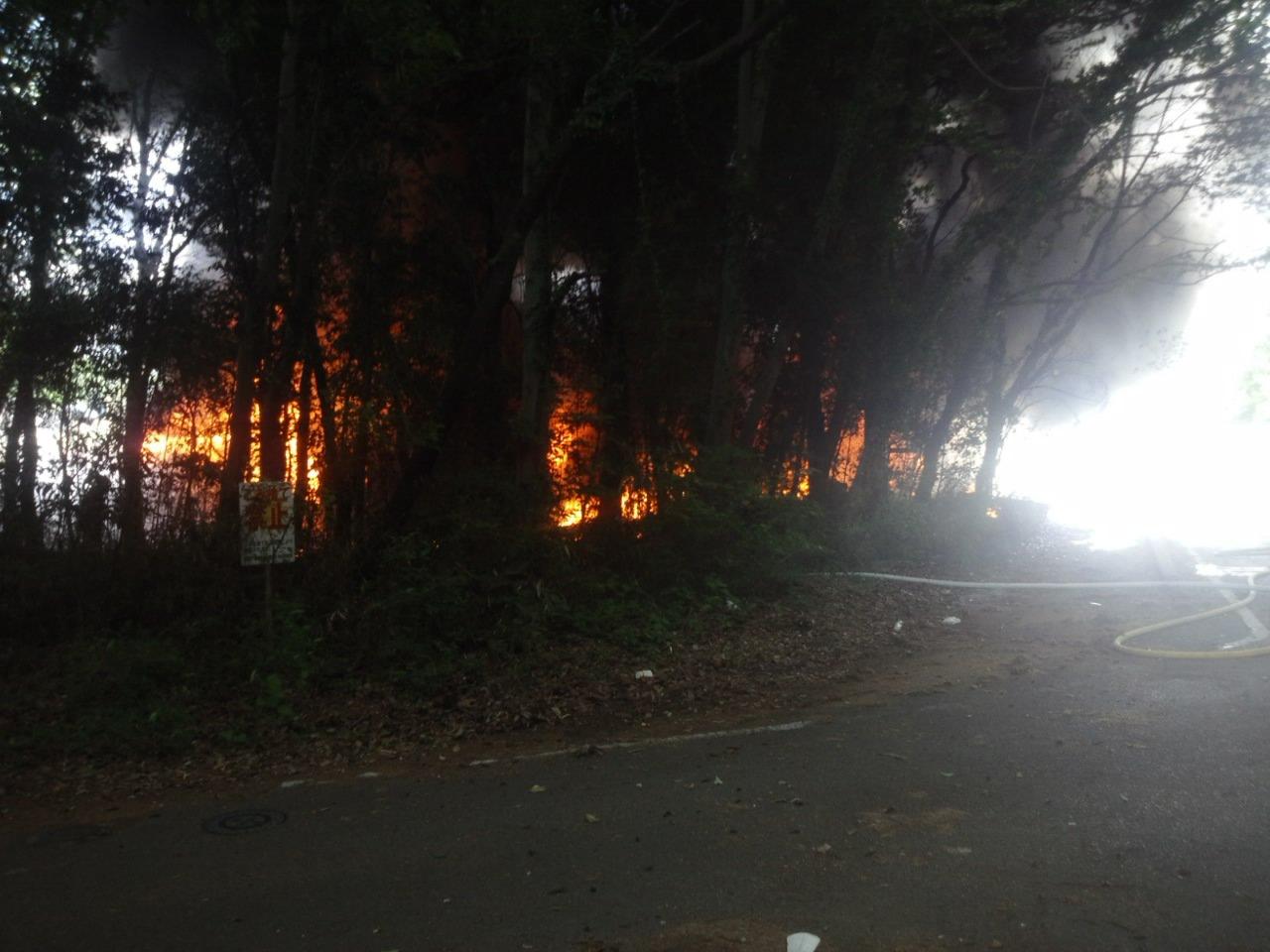 栃木市岩舟町の廃棄場で大量の黒煙を上げる火事の現場画像