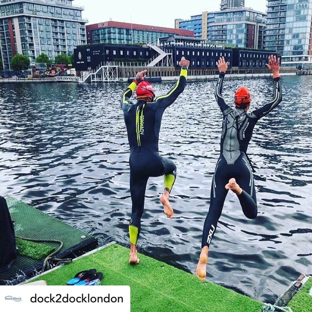 Training for the @dock2docklondon - it's got to be a serious business -NOT !!!! #lovetri #loveswimming #mondaymotivation