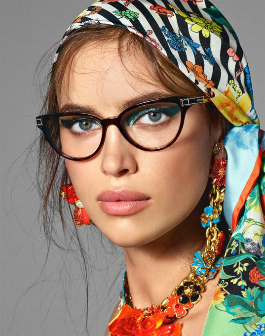 4e28704a35f  IrinaShayk wears the new cat-eye glasses for the Spring-Summer 2019   VersaceEyewear campaign. Discover more  e-versace.com eyewear