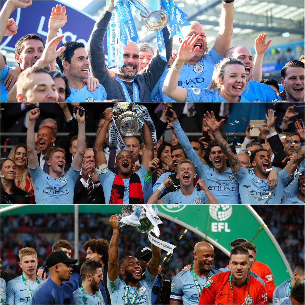 The first team to win the Premier League, FA Cup & EFL Cup in the same season - @ManCity 🏆🏆🏆 #MondayMotivation