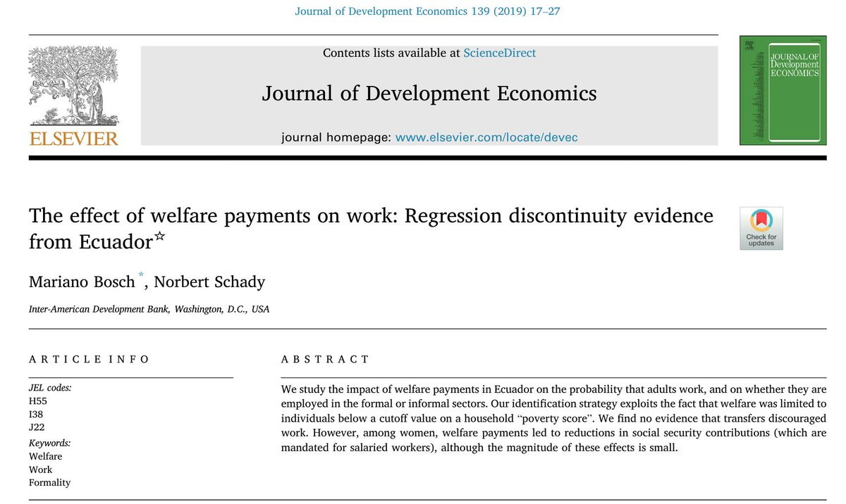 Economists keep finding that welfare payments in developing countries tend NOT to reduce labor supply. No effects in Ecuador 4-5 years after the program, adding to evidence for Honduras, Indonesia, Mexico, Morocco, Nicaragua, Philippines (Alzúa et al, 2013; Banerjee et al, 2017). <br>http://pic.twitter.com/cGZltVcMMR