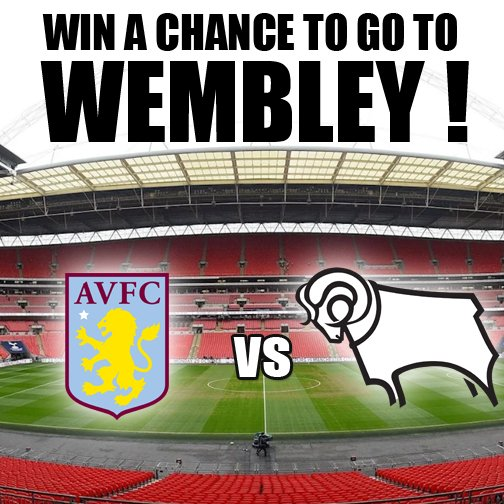 #WIN 2 Tickets to #WEMBLEY #ASTONVILLA vs #DCFC Monday 27th May - 3pm Kick-Off - Wembley Stadium To enter the #competition: -Download our Free App -Share this post -Tag a friend One winner will be picked on Sunday 26th May - Good luck :-) T & C Apply. #coyr #dcfctickets