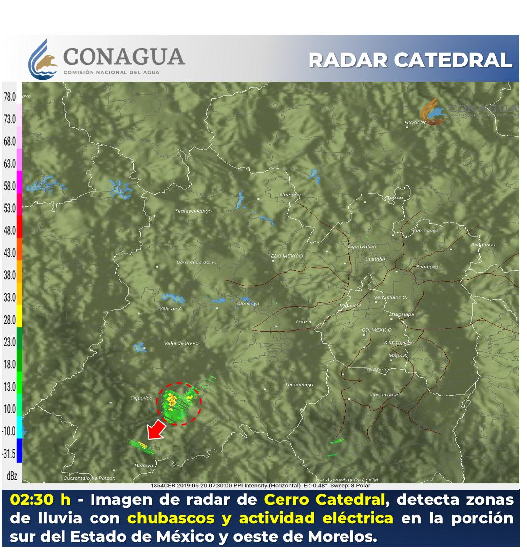 Imagen de radar de Cerro Catedral de las 02:30 h, detecta #Lluvia con #Chubascos y #ActividadEléctrica en #EdoMéx. y #Morelos.