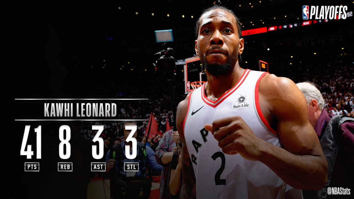 Kawhi Leonard pours in a game-high 41 PTS and hits the series-winning jumper as the @Raptors advance! #SAPStatLineOfTheNight <br>http://pic.twitter.com/nuPvCKcQ93