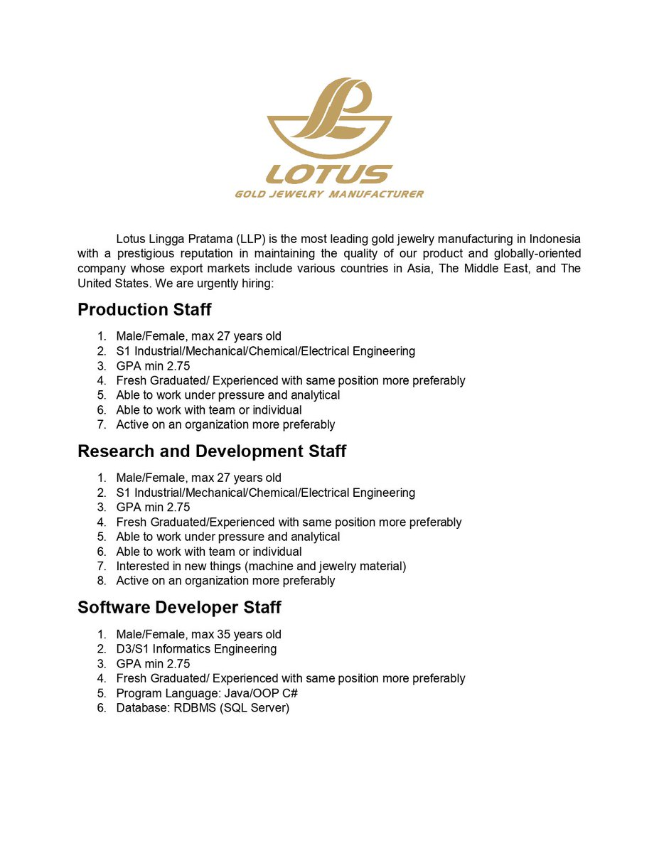 Job Vacancies] PT  Lotus Lingga Pratama now hiring! See