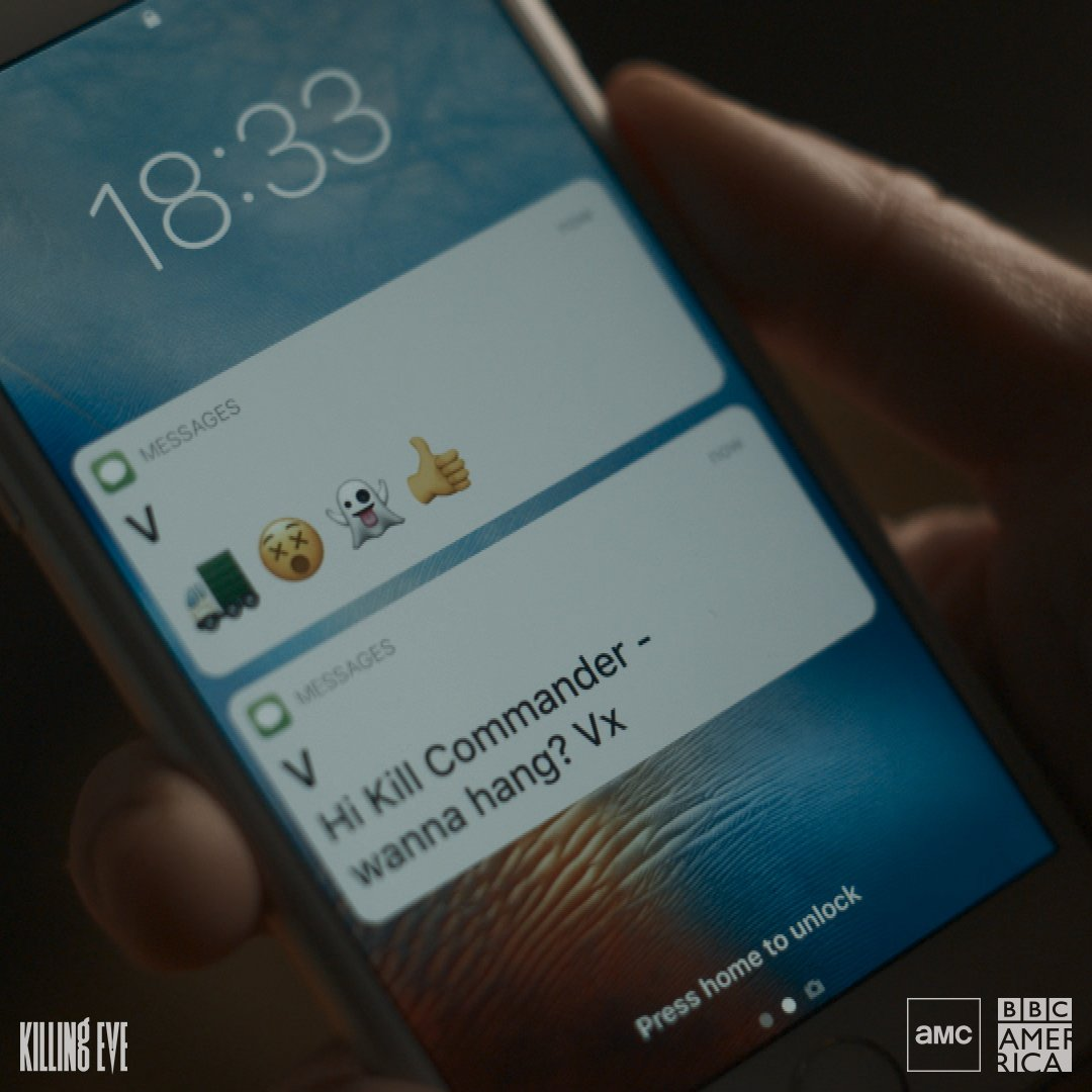 Text your friends.   Have a plan to watch #KillingEve Sunday at 8pm on @BBCAmerica and @AMC_tv.