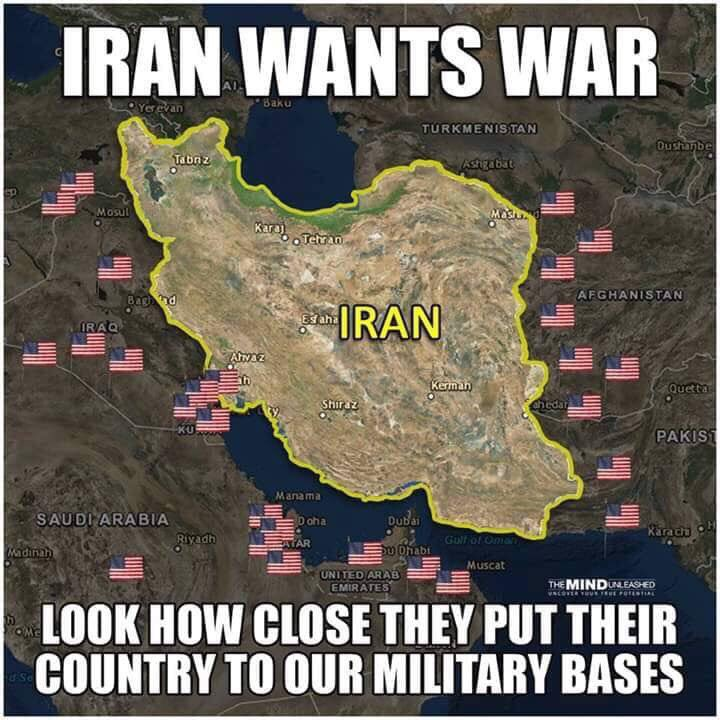 Iranian users sharing map Iran numerous military bases ...