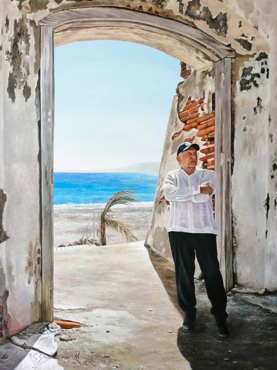 Terminé en Vallarta la gira que iniciamos en la sierra de Nayarit. Un pintor me regaló este lienzo lleno de simbolismo: es la puerta de la libertad de las Islas Marías, que ya dejaron de ser prisión.