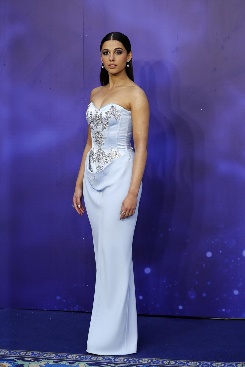 bd51a7109b19 naomi scott wears a bespoke burberry embroidered corset gown to the global  premiere of aladdin in