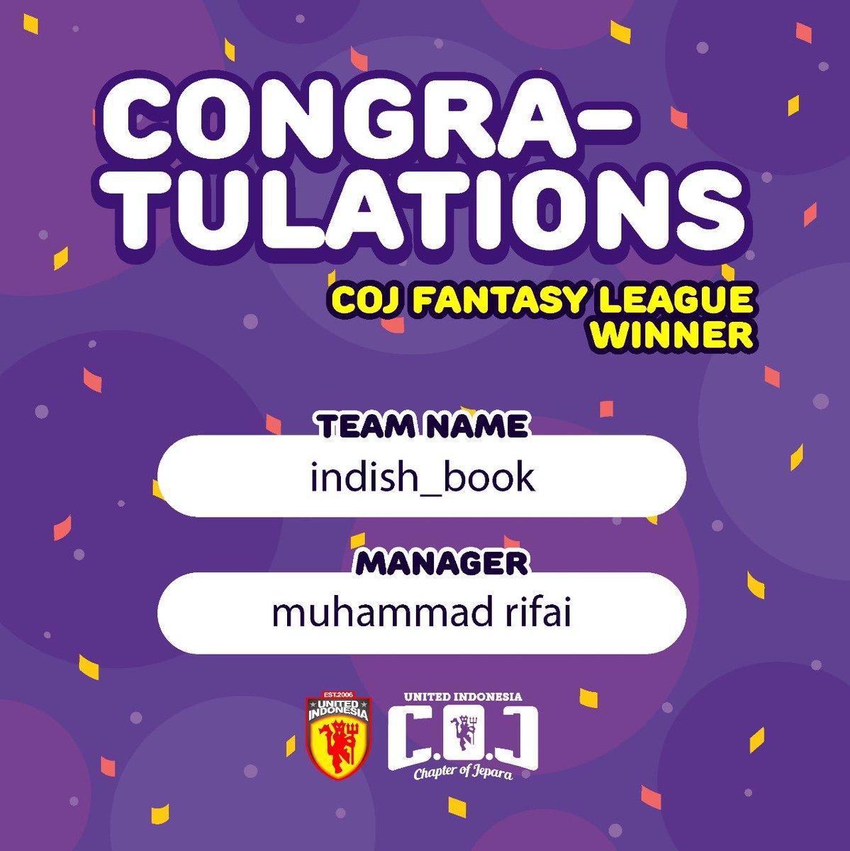 Selamat kami ucapkan untuk pemenang COJ Fantasy League 2018/2019. Silahkan kirim nama, alamat dan Nomor hp ke mimin ya untuk pengiriman hadiah. Untuk yang belom beruntung kita main lagi musim depan ya 😊  #UnitedIndonesiaJepara #UnitedIndonesia #UnitedTogether #UnityForUnited