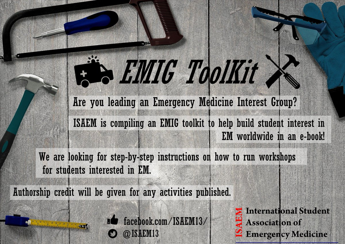Do you want to share an idea of a workshop/activity geared to EM-bound medical students?   Share it through our EMIG toolkit project form:   We want your idea to be disseminated throughout the world!   #FOAMed #MedEd #MedicalStudent #EMIGs