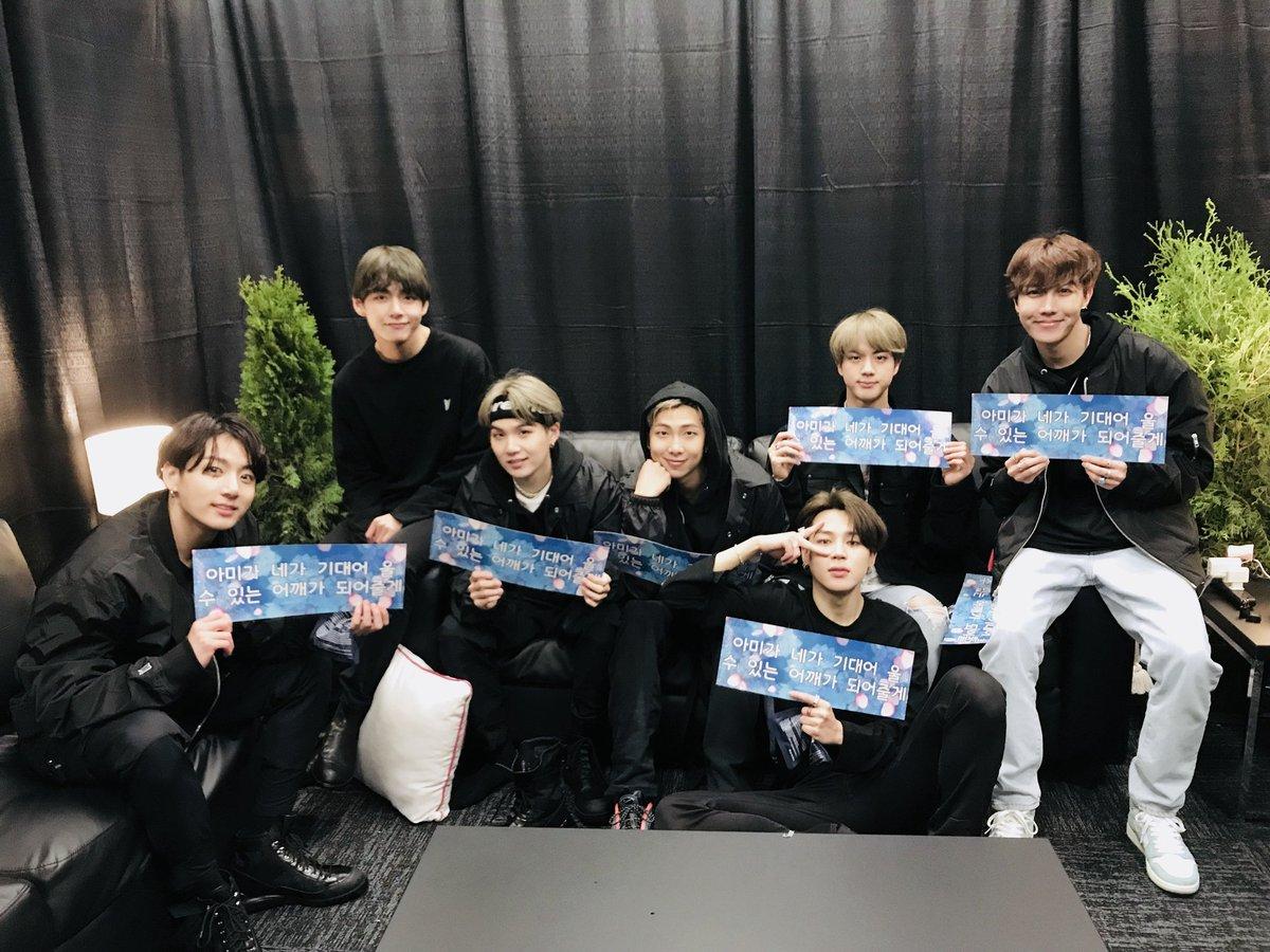 BTS setelah menggelar konser Love Yourself: Speak Yourself di Soldier Field Stadium, Chicago, Senin (13/5/2019).