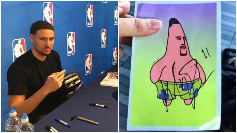NBA球星簽名也搞笑!Curry靈機一動用臉代筆,佛祖被要求在面包機上簽名!-Haters-黑特籃球NBA新聞影音圖片分享社區