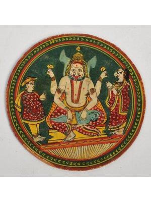 Circular ''ganjifa'' depicting Narasimha avatara of Vishnu seated on rectangular pedestal disemboweling Hiranyakasipu on his lap with his two lower arms. The two upper hands are shown holding the ''Sankha'' and ''Chakra'', 19th century,India ! #ganjifa #Narasimhavatara