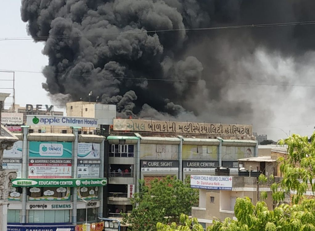 Fire in Apple Children hospital at Parimal Cross Roads in Ahmedabad