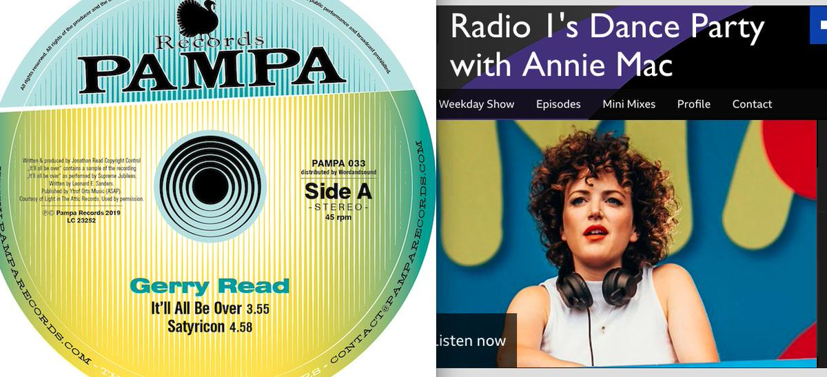 Sending all our LOVE & THANX to @AnnieMac for awarding the DJ Koze remix of @GerryRead1 'It'll All Be Over' on @PampaRecords her Hottest Record In The World title on Friday's @R1Dance Show. LISTEN bbc.co.uk/programmes/m00…