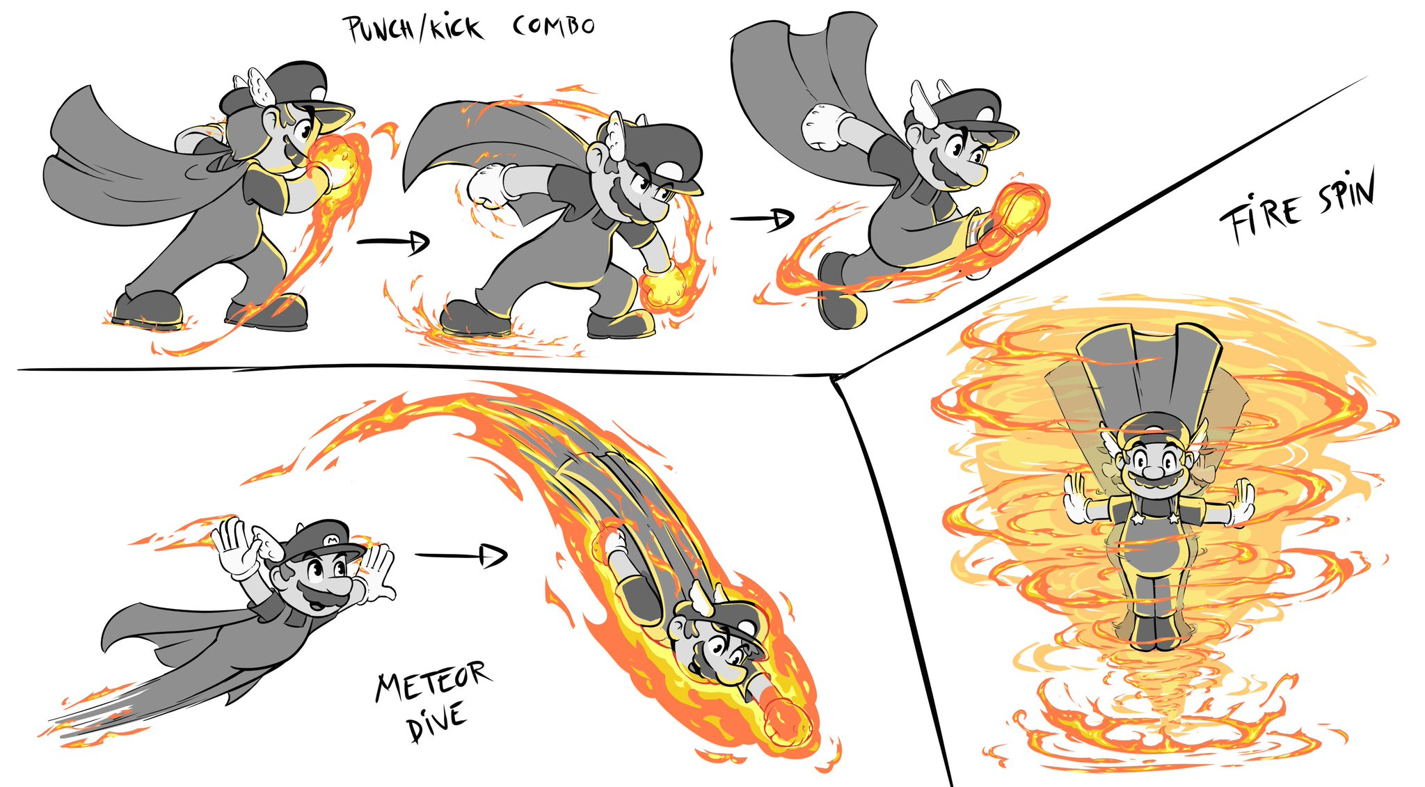 """Kaijuulien on Twitter: """"""""Mushroom Kingdom Warriors"""" (aka Mario Musou):  Mario concept. Weapon: Fire gloves/Hero's Cape. Other possible moves:  fireball barrage, fiery groundpound, flame cap throwing, ... #Nintendo  #SuperMarioBros #fanart #conceptart ..."""