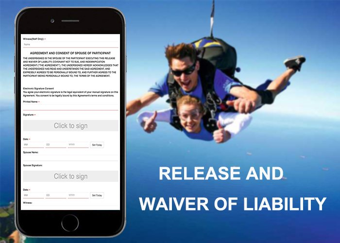 Create an online release of liability form for skydiving business. #ElectronicWaiverOnline #OnlineReleaseForm #DigitalWaiverApp #FreeOnlineWaiverSigning #DigitalWaiverSoftware #OnlineWaiverService #WaiverAppForIPad #OnlineWaiverSolution #OnlineWaivers https://www.cleverwaiver.com/?ftwitter