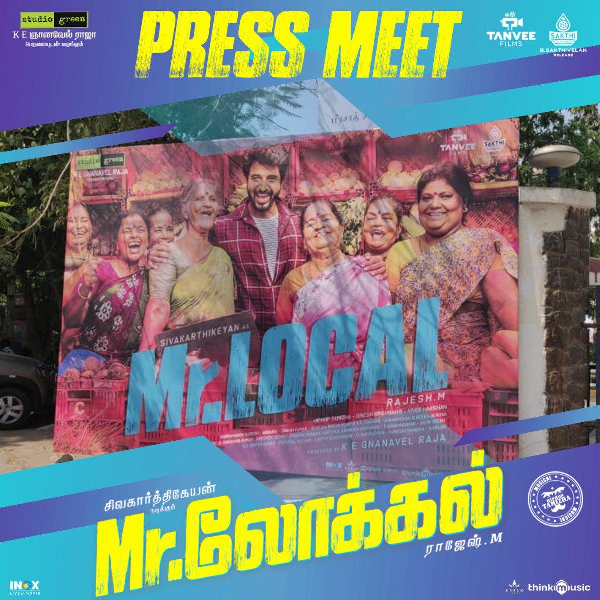 Much-awaited #MrLocalPressMeet is about to begin 😎  Stay-tuned to our handle for LIVE updates  #MrLocalin4Days #MrLocalOnMay17 😉Kalakkalu! Mr Local-lu! @Siva_Kartikeyan #Nayanthara @rajeshmdirector @hiphoptamizha @realradikaa @SF2_official @malikstreams @thinkmusicindia
