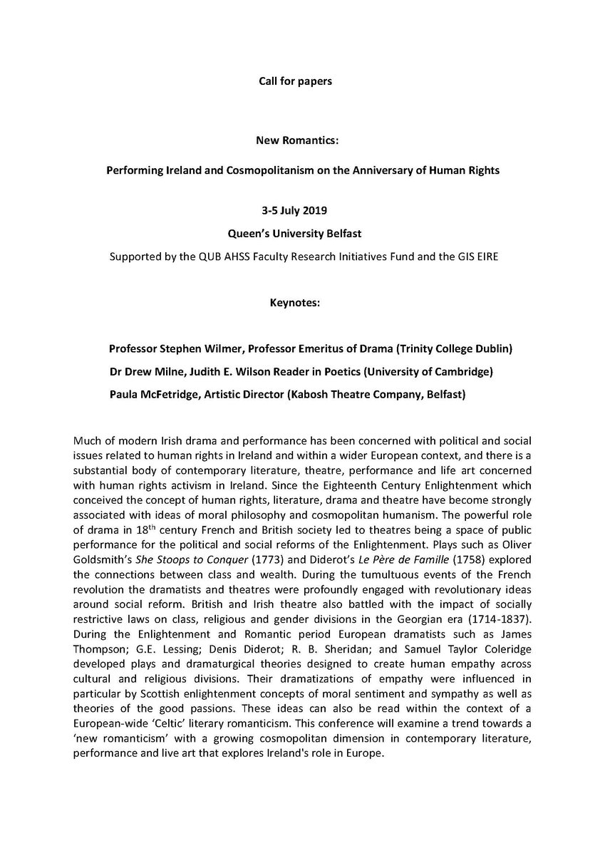 CFP: New Romantics: Performing Ireland and Cosmopolitanism on the Anniversary of Human Rights - deadline 15 May.  3-5 July @QUBelfast