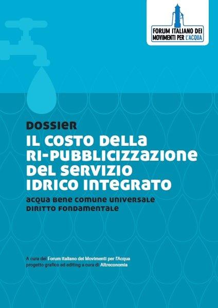 Risultati immagini per Il costo della ripubblicizzazione del servizio idrico integrato