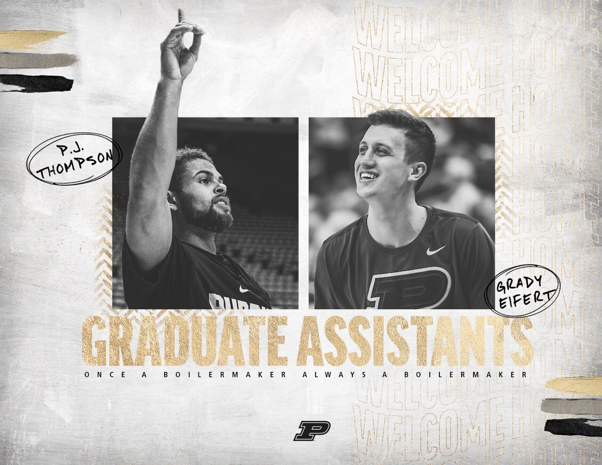 The biggest news of the day in college hoops. Right here. No question about it!   Welcome back @pj_thompson11 & @EifertGrady.   The best coaching staff in America is getting better.   #BoilerUp 🚂