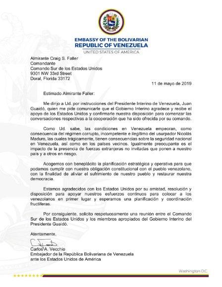 Jefe del Comando Sur dice estar listo para colaborar, Guaidó dice que enviará a Vecchio, y acá la carta. La cadena de mando es clara, son de manual. No importa qué piensa Guaidó sino hasta dónde están dispuestos a ir en EEUU. Por ahora no tienen acuerdo interno. #13May