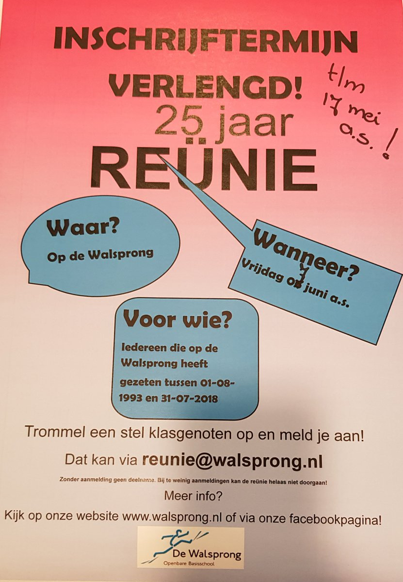test Twitter Media - Inschrijftermijn voor het aanmelden voor de reünie van De Walsprong op vrijdag 7 juni a.s. is verlengd naar vrijdag 17 mei. Vertel het aan je vrienden/ vriendinnen, deel dit bericht, en meld je aan: reunie@walsprong.nl. https://t.co/C9gBM3Vxhz…/walsprong-reunie-op-7-juni-2019/ https://t.co/RqetkC1FfS