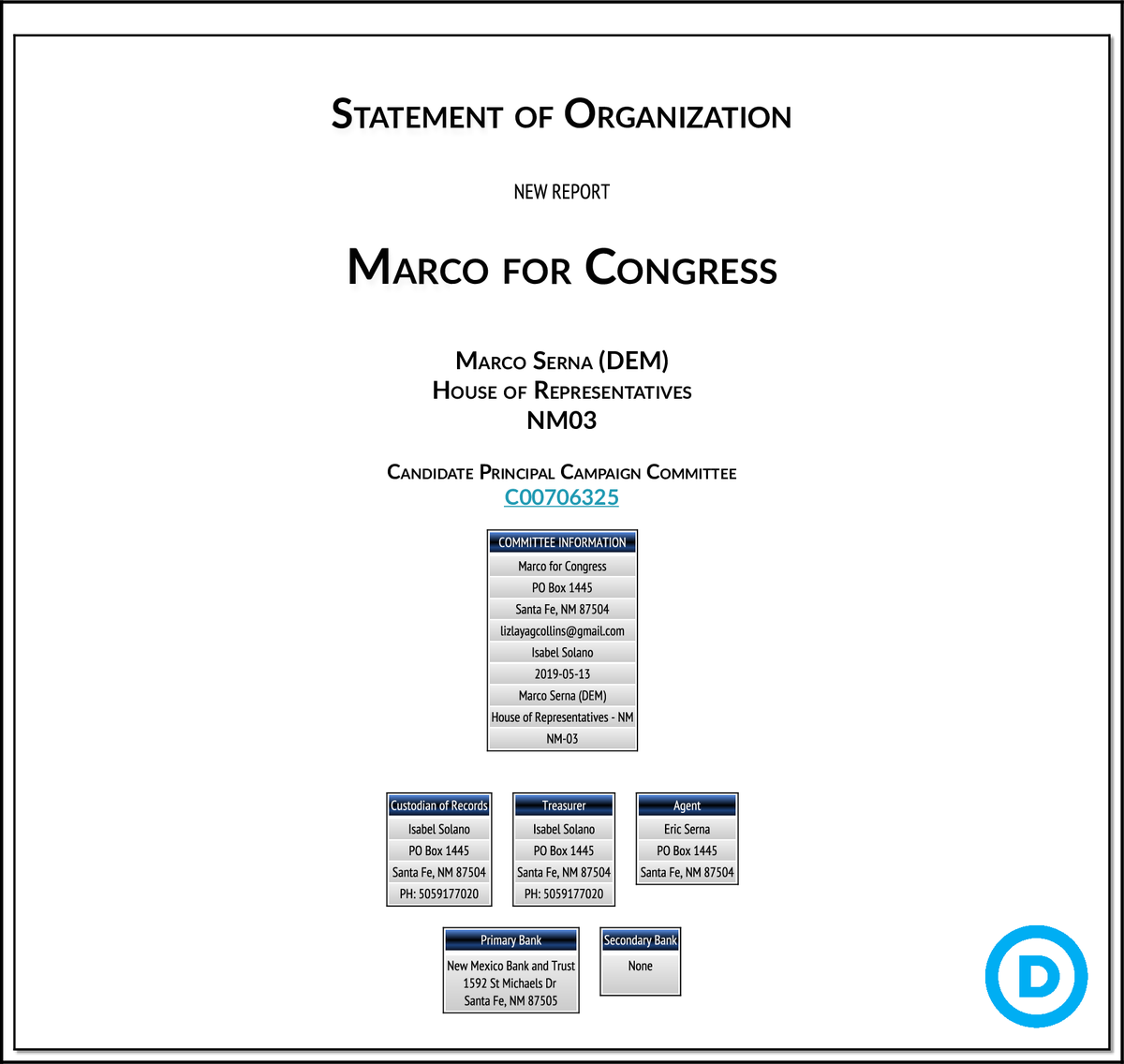NEW FEC F1 #NM03 Marco for Congress http://classic.fec.gov/fecviewer/CommitteeDetailFilings.do?tabIndex=3&candidateCommitteeId=C00706325 …