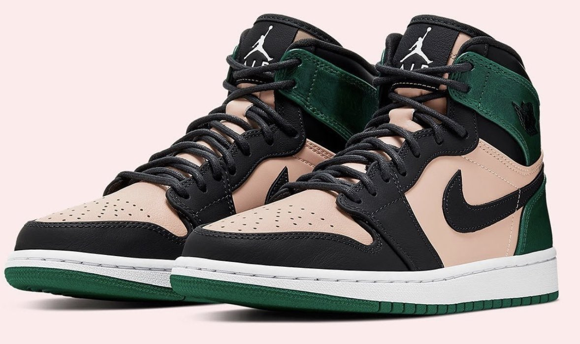 94a1ccaa2f872 AIR JORDAN 1 RETRO HIGH PREMIUM WOMENS LIFESTYLE SHOE (BLACK TAN GREEN)